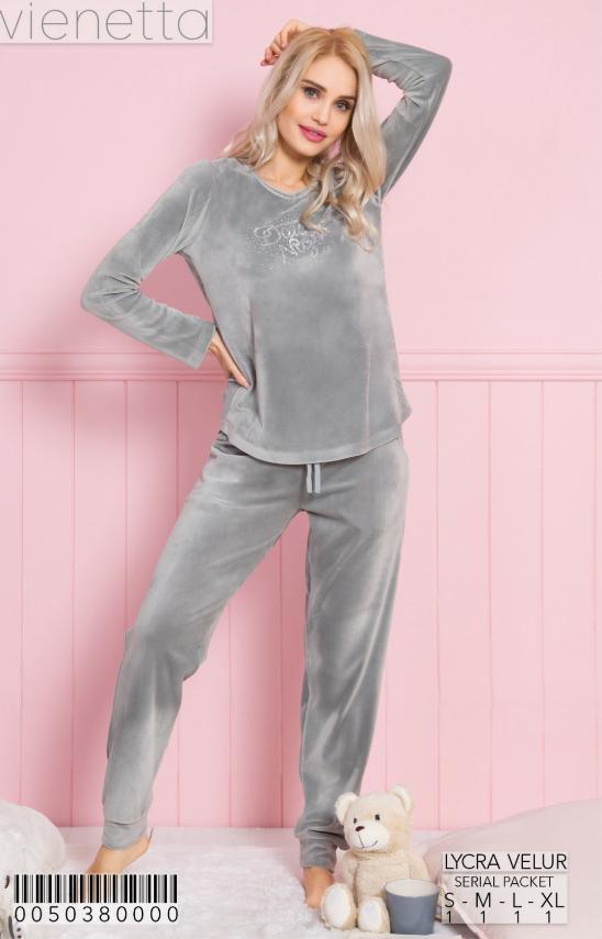 Комплект женской домашней одежды,  (Кофта длинный рукав+штаны) велюр, VS (размер M)