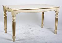 Стол обеденный Венеция раскладной из массива ясеня, слоновая кость патина