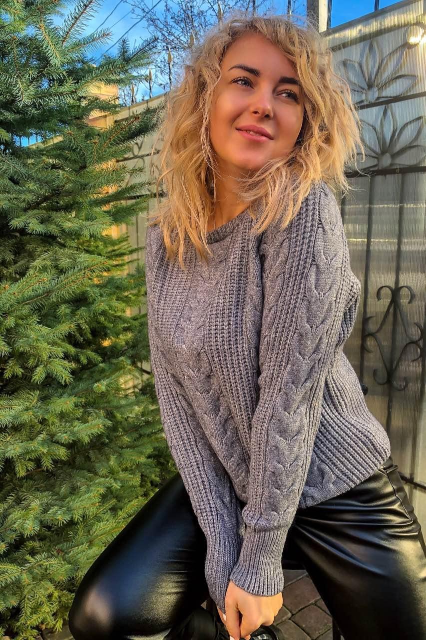 Трендовый свитер с косами фасона oversize   - серый цвет, XL/XXL (есть размеры)