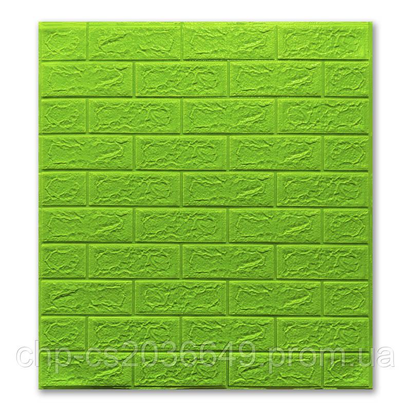 Самоклеящаяся 3D панель обои 700x770x5мм зеленый кирпич