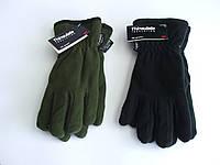 """Перчатки зимние """"Thinsulate"""" флисовые  оливковые черные"""