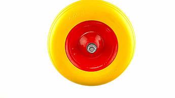 Колесо для тачки садовой 4,00 -6 TL (бескамерное, ось D-16мм ) (силикон, желтое) ELIT