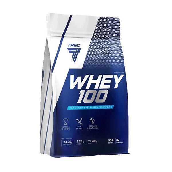 Протеин Trec Nutrition Whey 100, 900 грамм Клубника