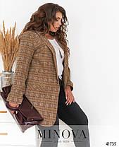 Модный женский пиджак в клеточку, больших размеров от 48 до 62, фото 3