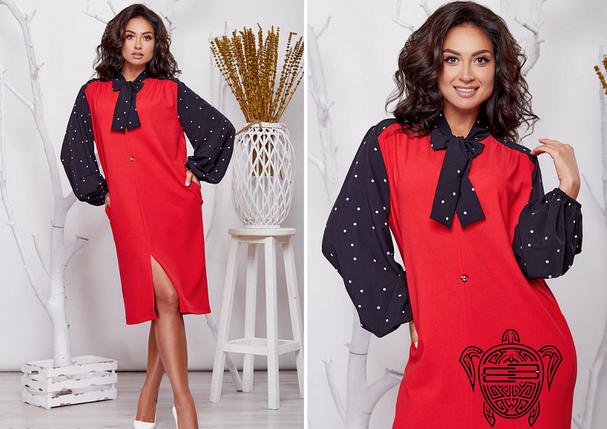 Красное платье батал Размеры: 48.50.52.54.56.58.60.62., фото 2