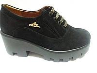Туфли женские замшевые чёрные на платформе 36 37 38 40 41 размер