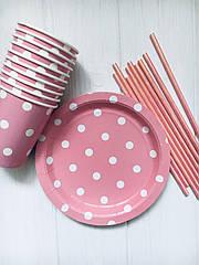 """Набор бумажной посуды - тарелочки, стаканчики и трубочки """"Pink dots"""" (30 шт.)"""