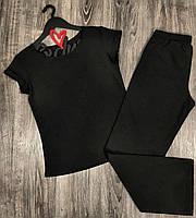 Чорний піжамний комплект зі штанами. Піжами жіночі.