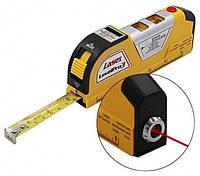Лазерный уровень Laser Level pro 3 с 2-мя пузырьковыми уровнями + рулетка и линейка.