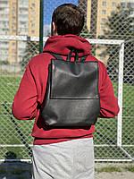 Мужской рюкзак небольшого размера из экокожи черный, фото 1