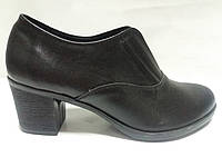 Туфли женские кожаные чёрные на каблуке 36 37 38 39 40 41 размер