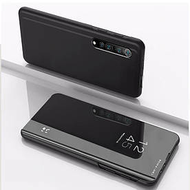 Чохол книжка для Huawei Y7P бічній з дзеркальною поверхнею, Чорний