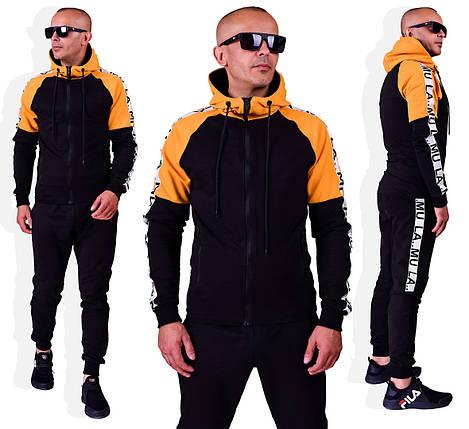 Мужской спортивный двухцветный костюм двухнить-трикотаж черный c желтым, фото 2