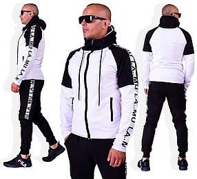 Мужской спортивный двухцветный костюм двухнить трикотаж черный с белым