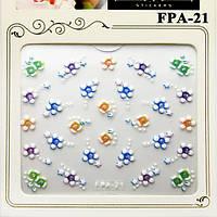 Наклейки для Ногтей Самоклеющиеся 3D Nail Sticrer FPA-21 Цветы Белые Материалы для Дизайна Ногтей, Маникюр