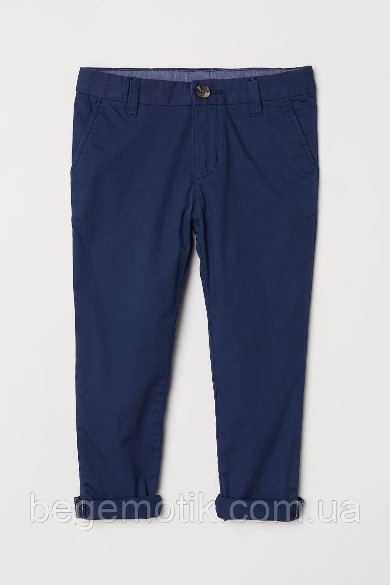 H&M Хлопковые чиносы темно- синие для мальчика 7-8 лет рост 122-128