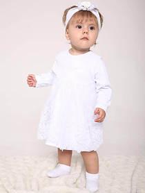 """Белое платье для девочки """"Алиса"""" 74 размер"""