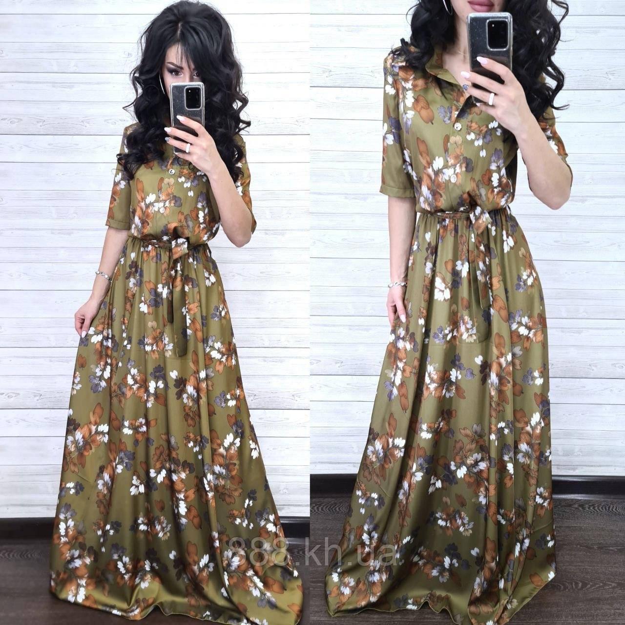Невероятное стильное платье, ткань шелк, 42-44, 46-48 рр, цвет хаки