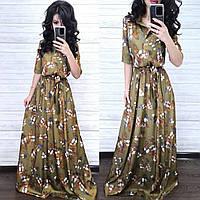 Невероятное стильное платье, ткань шелк, 42-44, 46-48 рр, цвет хаки, фото 1