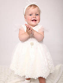 """Молочное платье для девочки """"Амелия"""" размер 74 - 80"""