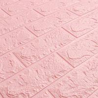 Самоклеючі 3D панелі для стін під рожевий цегла 700х770х7мм Os-BG04