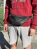 Чорна сумка на пояс чоловіча міська зі штучної шкіри, фото 1