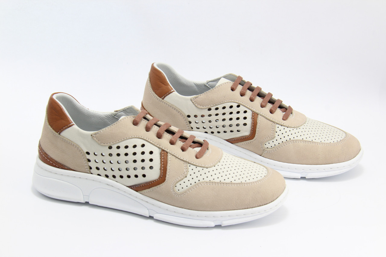 Шкіряні жіночі кросівки Туреччина meldymoor 2097-kirli-beyaz-bej