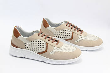 Кожаные женские кроссовки Турция meldymoor 2097-kirli-beyaz-bej