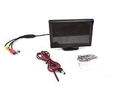 """Монитор в авто 5"""" дюймов с козырьком. Черный корпус. Два вида разрешения экрана (М2-105) PAL, NTSC, Разрешение"""