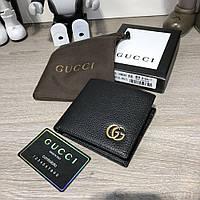 Брендовый мужской кожаный кошелек/бумажник Gucci Slender Wallet GG Marmont Black