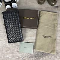 Брендовый мужской кожаный бумажник/портмоне Bottega Veneta Continental Intrecciato In Nero (фирменная коробка)