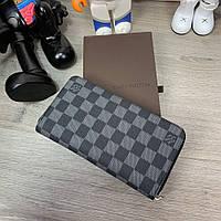 Мужской брендовый бумажник/портмоне Louis Vuitton Zippy Vertical Damier Graphite