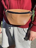 Поясная сумка коричневая из экокожи мужская, фото 1