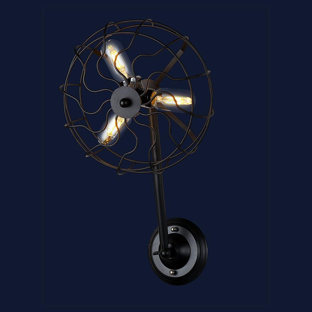 Настенный светильник бра в стиле лофт на три лампы цвет черный Levistella&707W148-3 BK