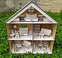 Игровой домик белого цвета. Домик для кукол 51см