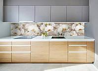Виниловая наклейка кухонный фартук-скинали, самоклейка для кухни IdeaX Орхидея и капли росы 60х250 см