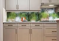 Виниловая наклейка кухонный фартук-скинали 60х300 см IdeaX Дождь на стекле (самоклейка на кухню)