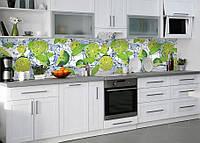 Виниловая наклейка кухонный фартук-скинали 60х300 см IdeaX Лаймы, мята (самоклейка на кухню)