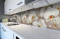 Виниловая наклейка кухонный фартук-скинали 60х300 см IdeaX Орхидея и капли росы (самоклейка на кухню)