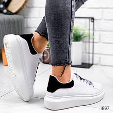 Кроссовки женские белые + черные из эко кожи. Кросівки жіночі білі + чорні, фото 3