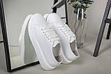 Кеды женские кожаные белые на белой подошве, фото 5
