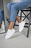 Кеды женские кожаные белые на белой подошве, фото 9