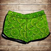 Шорты 3D принт женские-green lime