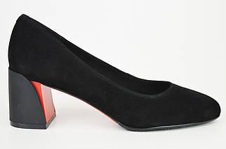 Туфли замшевые на расклешенном каблуке Geronea 72770 черные, фото 3