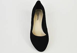 Туфли замшевые на расклешенном каблуке Geronea 72770 черные, фото 2