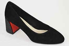 Туфли замшевые на расклешенном каблуке Geronea 72770 черные