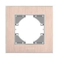 VIDEX BINERA Рамка медный алюминий  одинарная горизонтальна