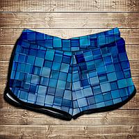 Шорты 3D принт женские-Голубые кубики