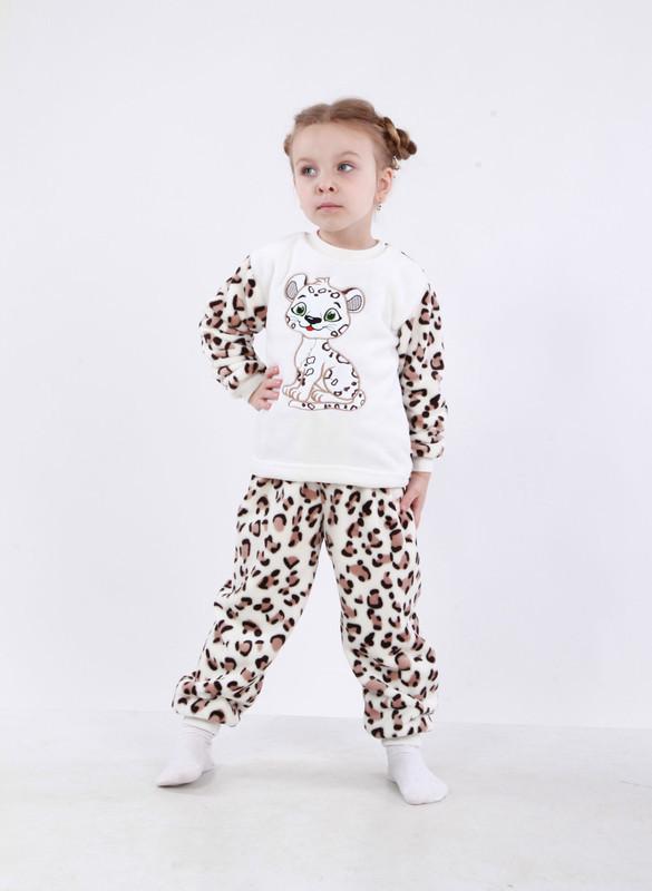 Піжама дитяча махрова Леопард для дівчинки велсофт