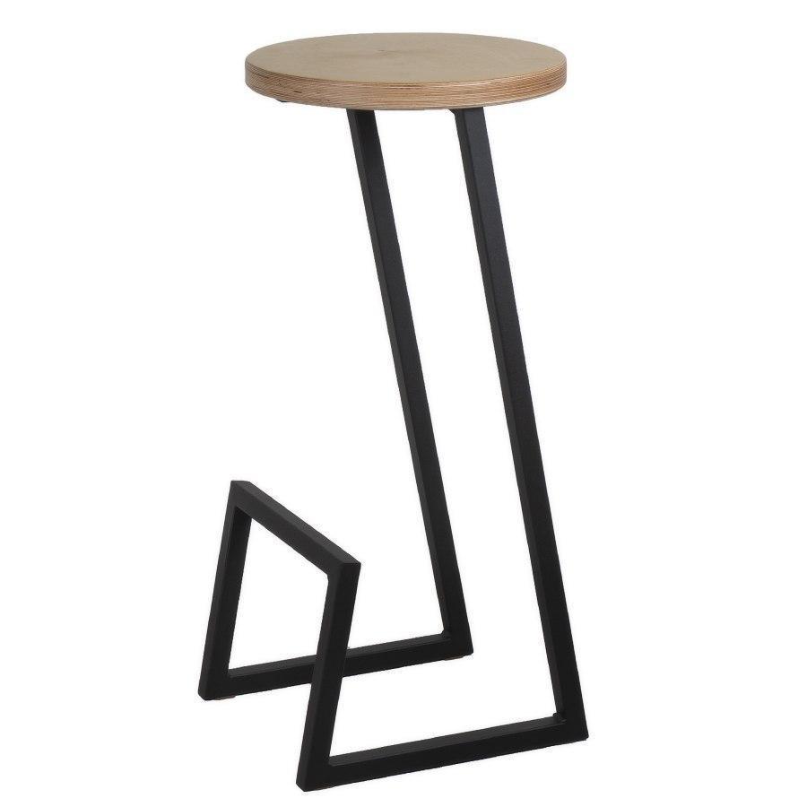 Барный круглый стул из металла и натурального дерева
